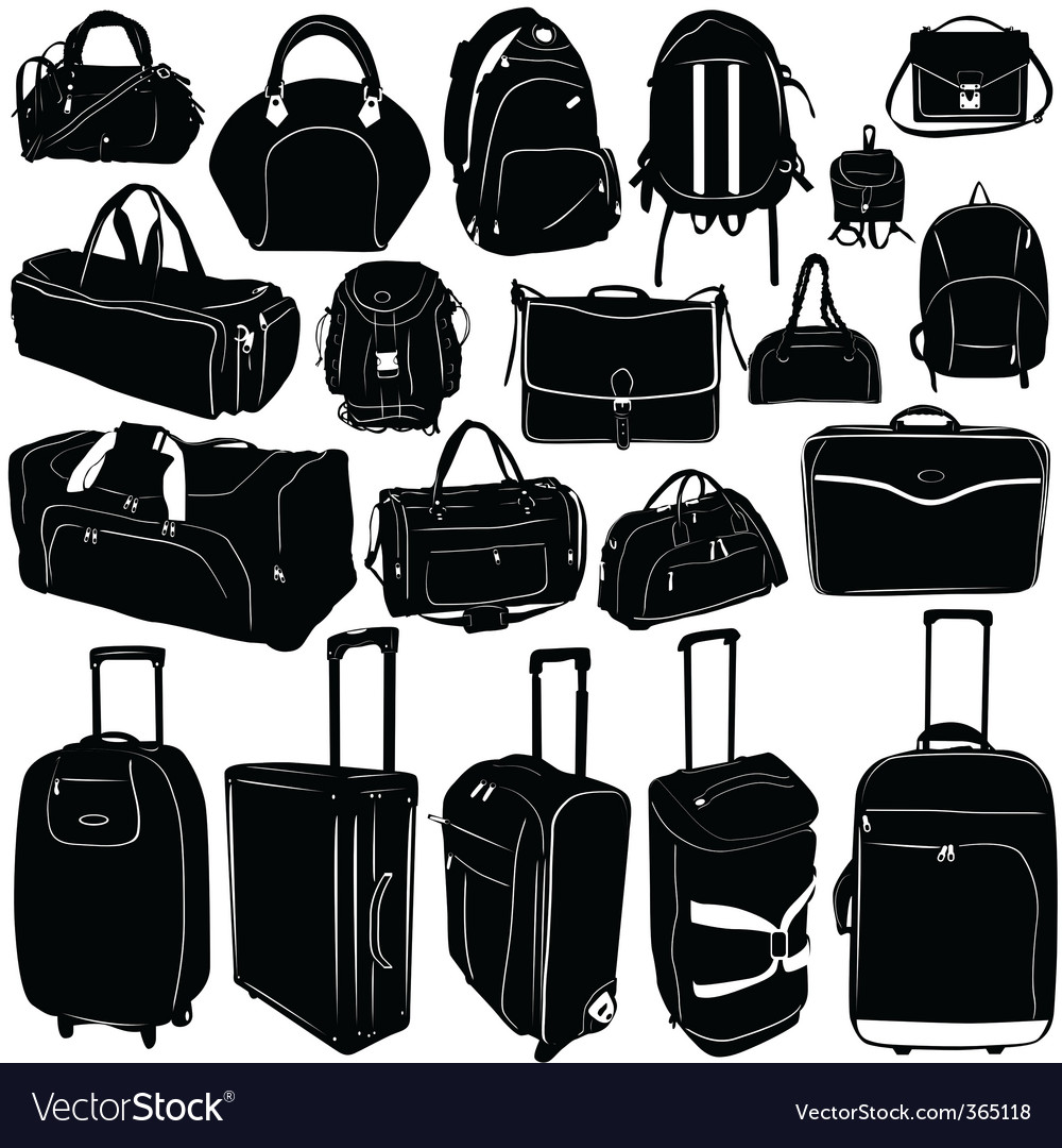 Travel suitcase and bag vector image