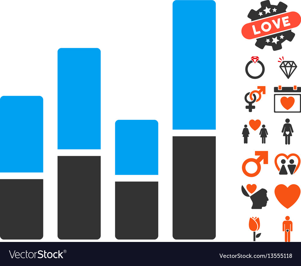 Bar chart icon with dating bonus vector image