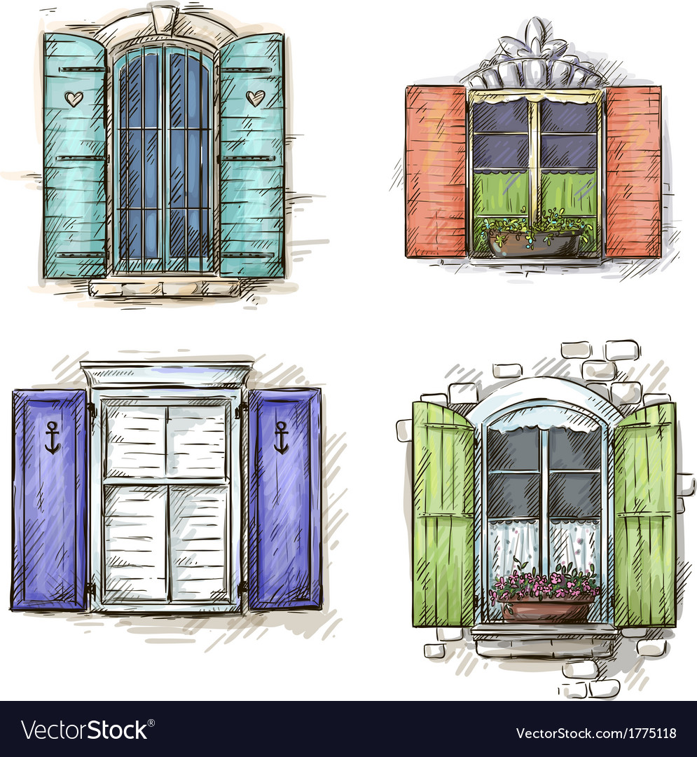 vintage window drawing. set of vintage windows hand drawn vector image window drawing .