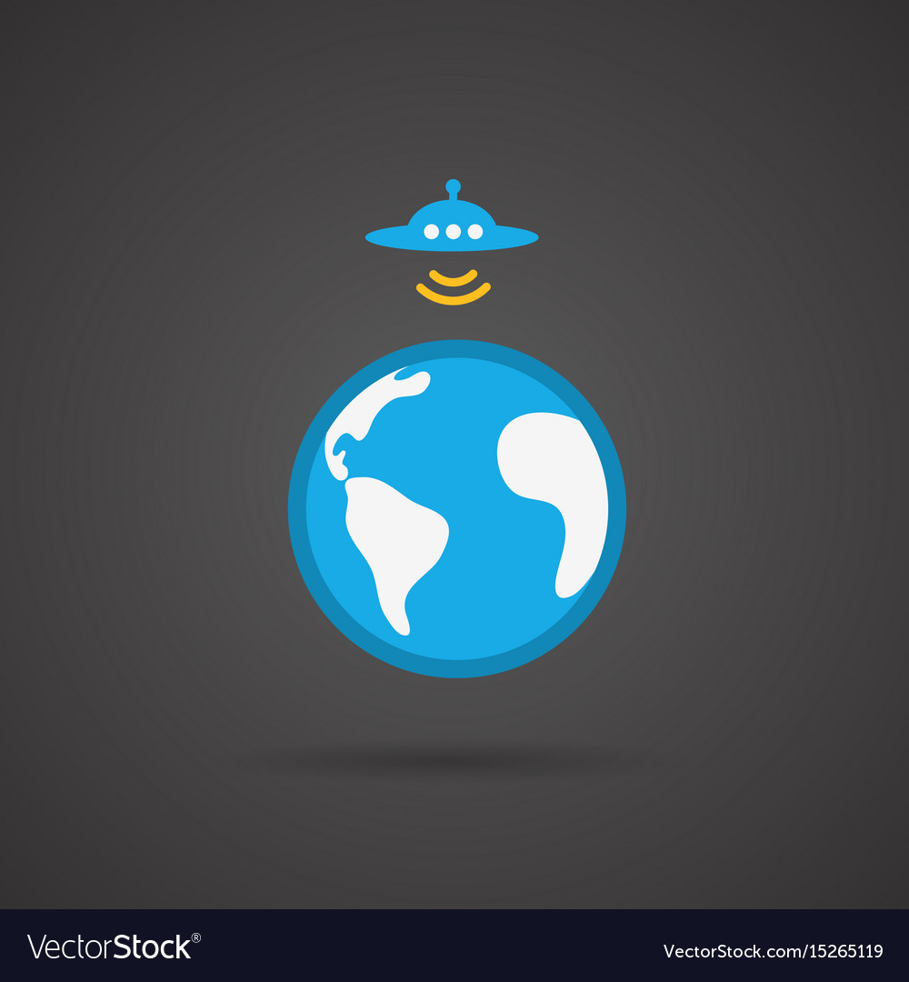 Ufo earth icon on black background Royalty Free Vector Image for Ufo Black Background  113cpg