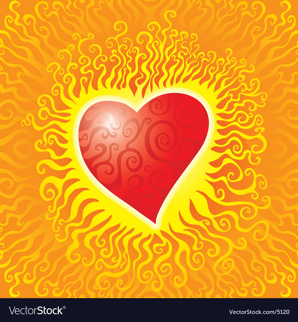 Flames heart vector image