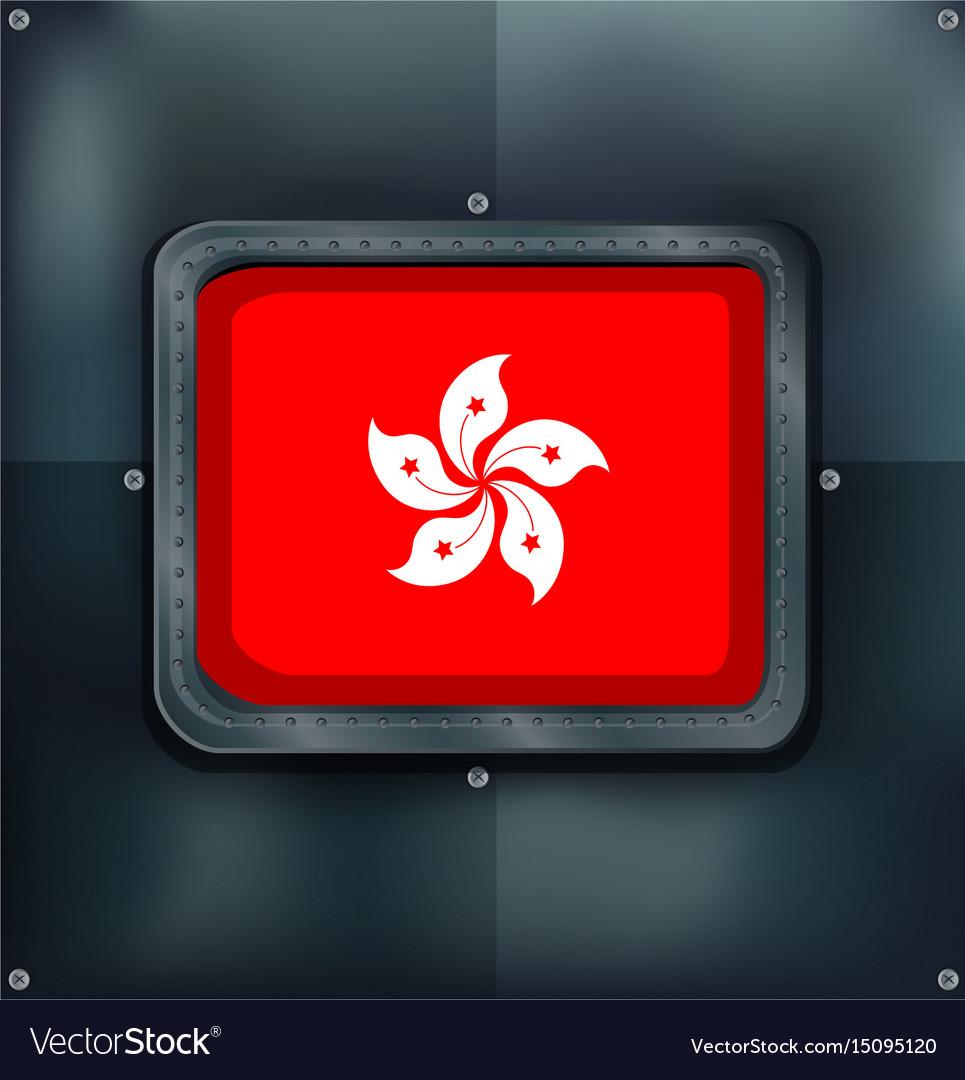 Flag of hongkong on metalic background vector image