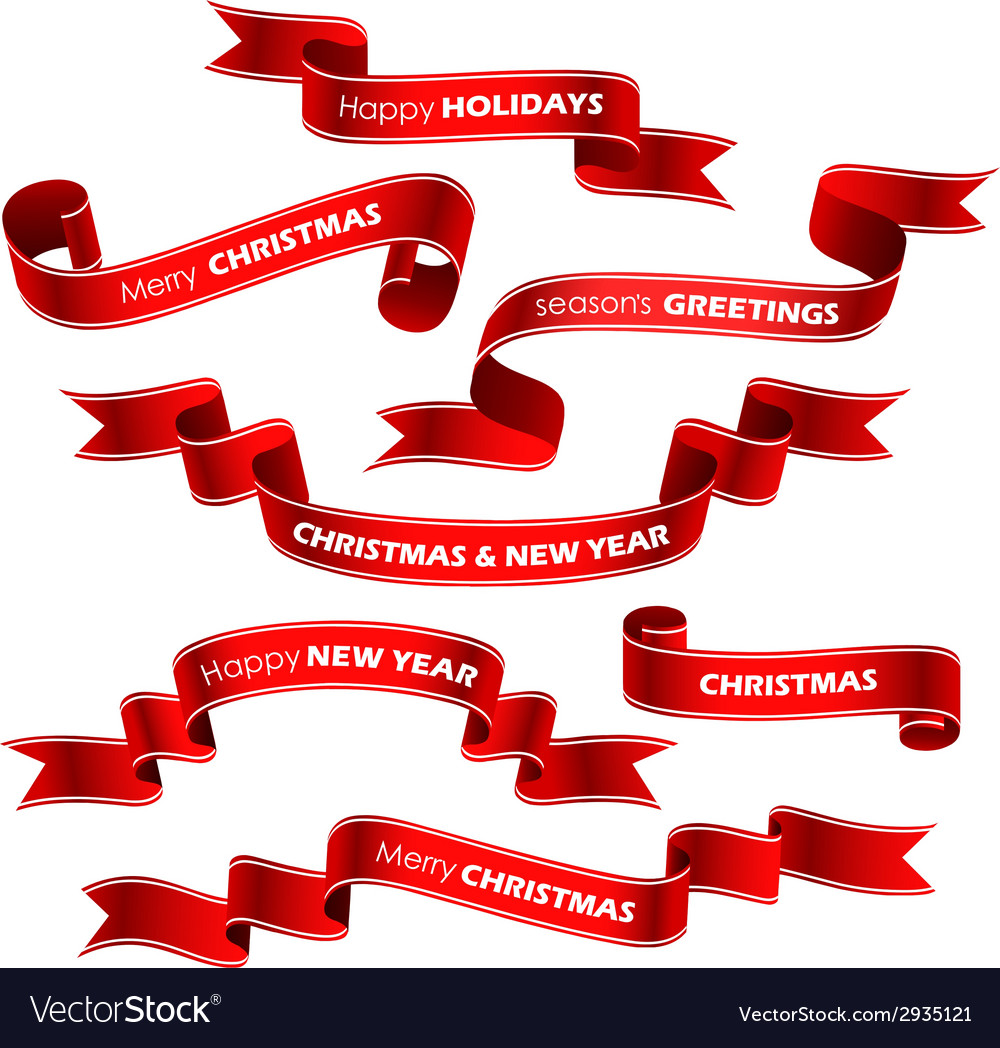 Christmas red ribbons vector image