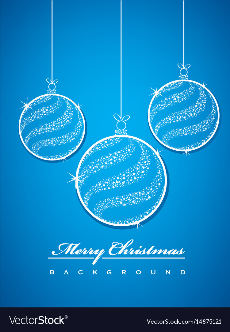 Merry christmas balls glittering with stars vector image