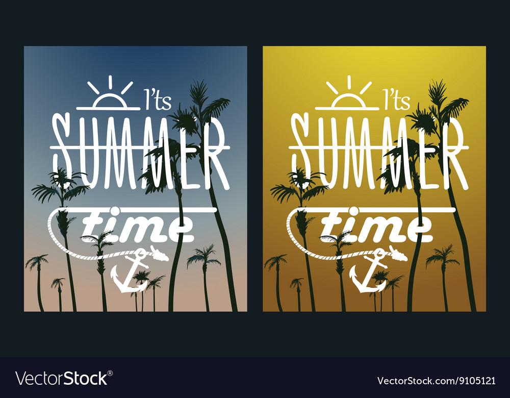 Paradise Island-Palm Tree Sunset summer poster vector image