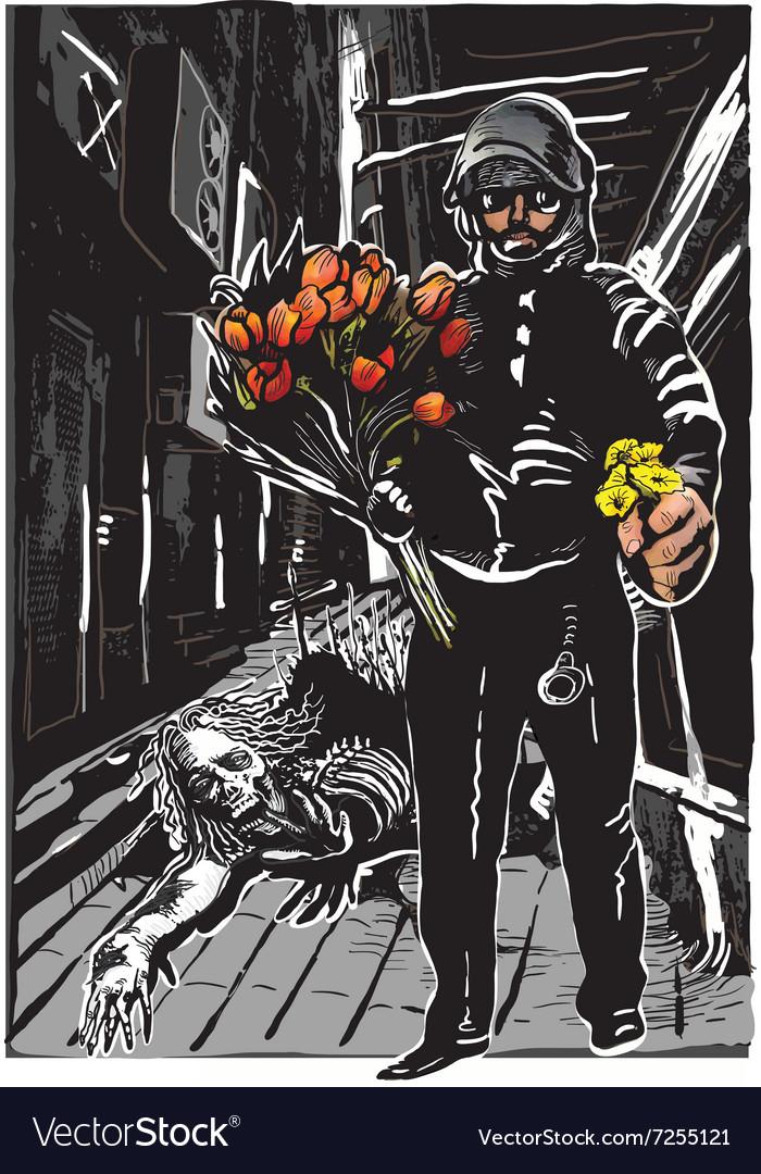 Policeman with flowers gentle hero - freehand vector image