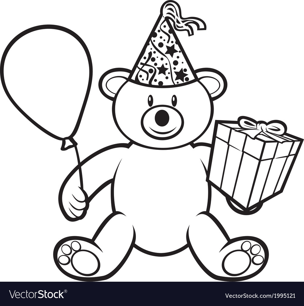 teddy bear toy with gift box royalty free vector image