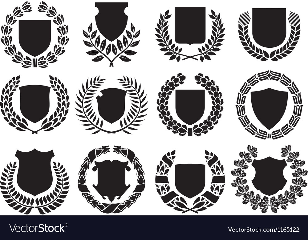 Medieval shields and laurel wreath collection vector image