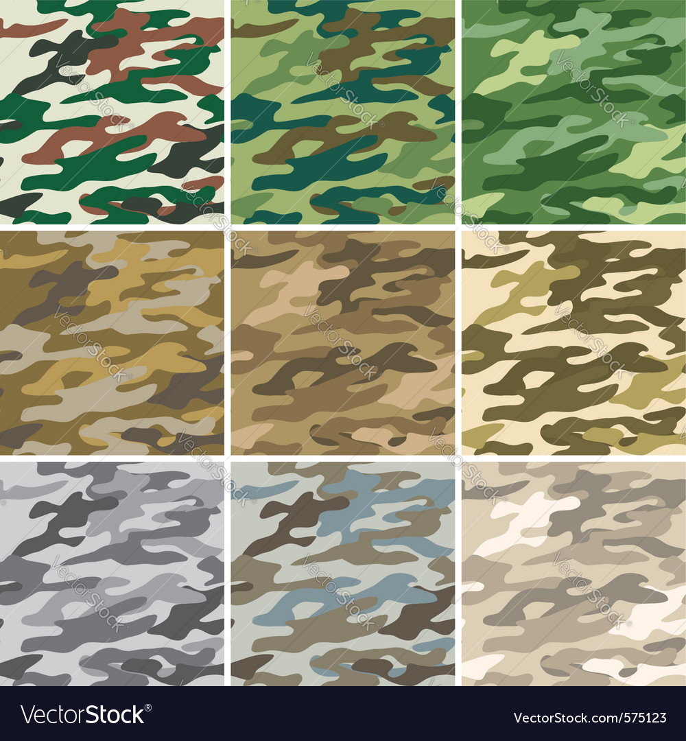 Camouflage seamless patterns vector image