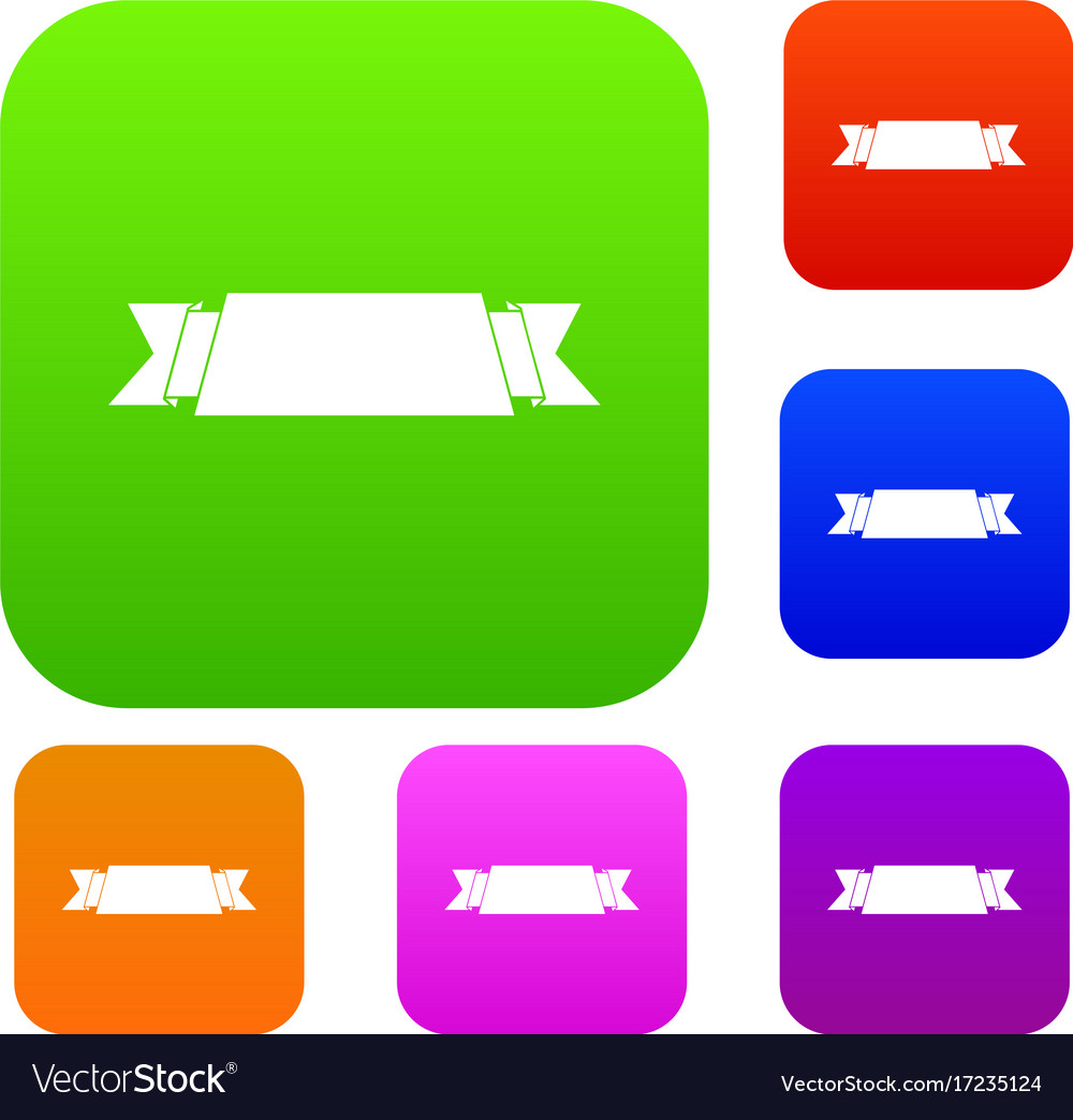 Ribbon banner set collection vector image