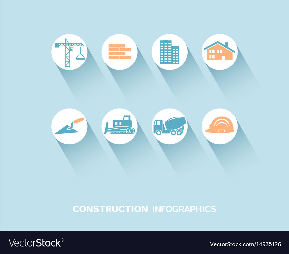 Construction infographic with flat icons vector image