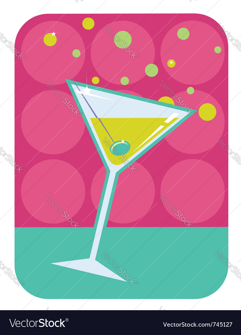 Cocktail retro background vector image