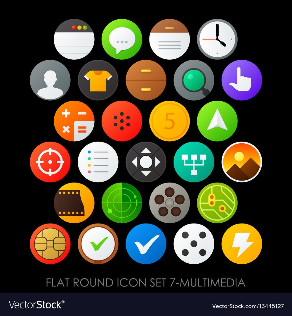 Flat round icon set 7-multimedia vector image