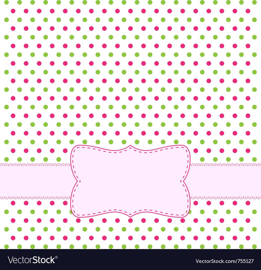 Polka dot design frame vector image