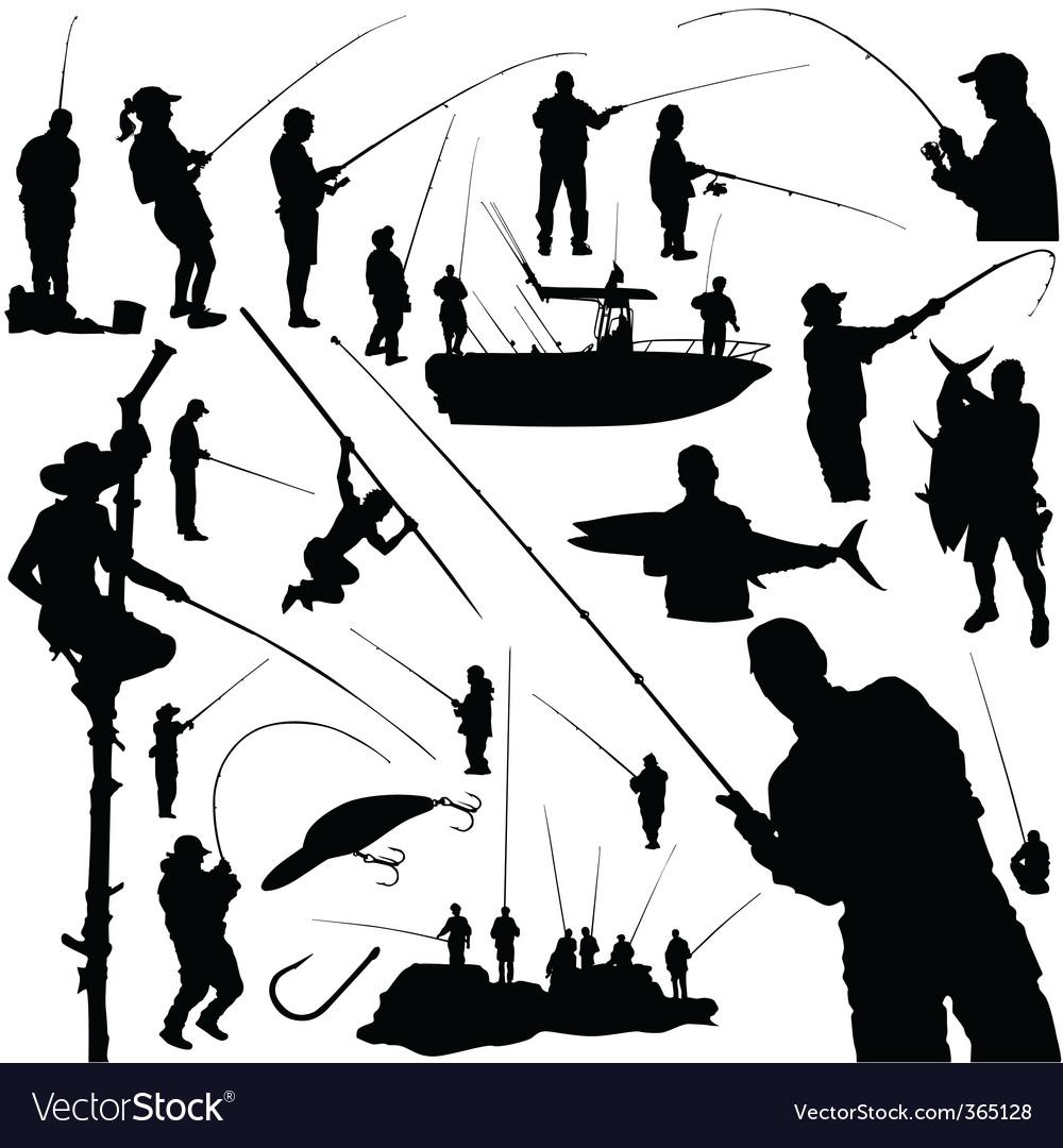 Fishermen and fishing vector image