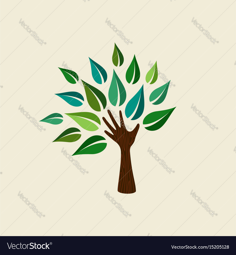 Green hand tree for nature care vector image