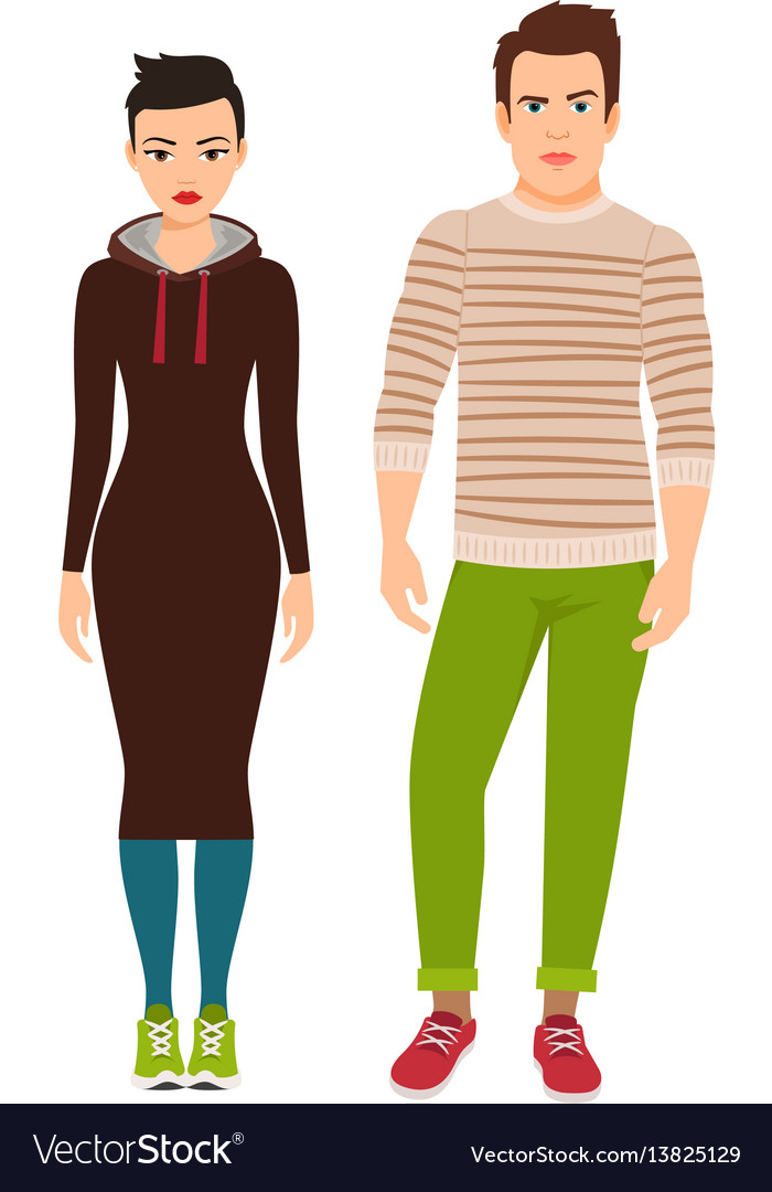 Couple in hipster style clothes vector image