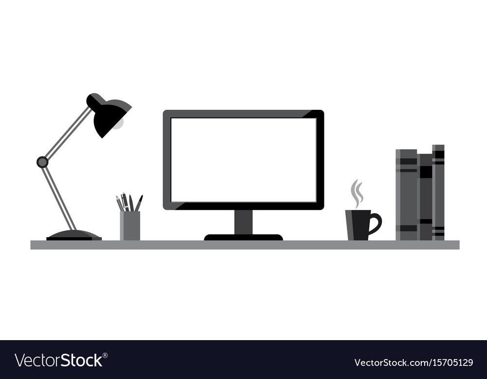 Modern workstation - vektor flat style vector image