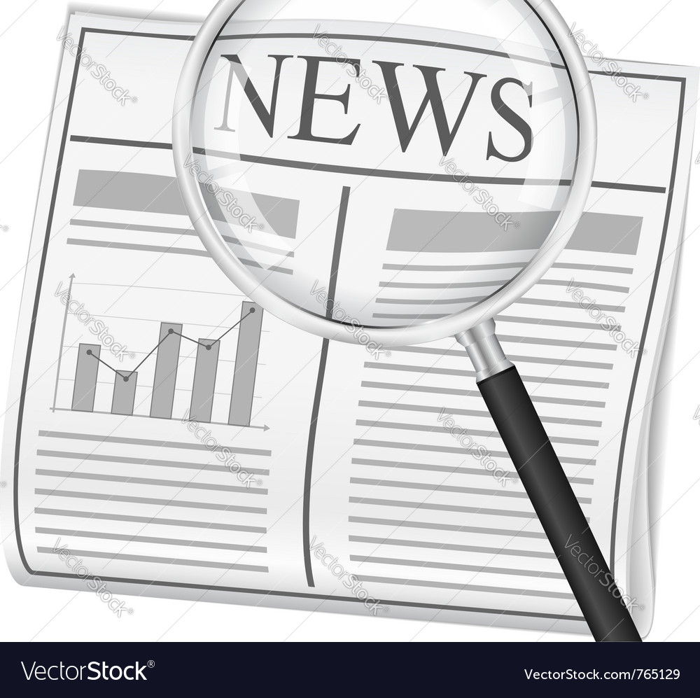Newspaper with magnifying glass vector image