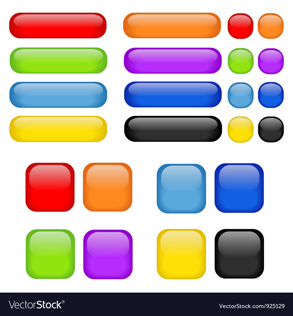 Rainbow buttons set vector image