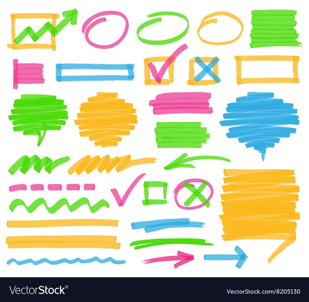 Highlighter Marking Design Elements vector image
