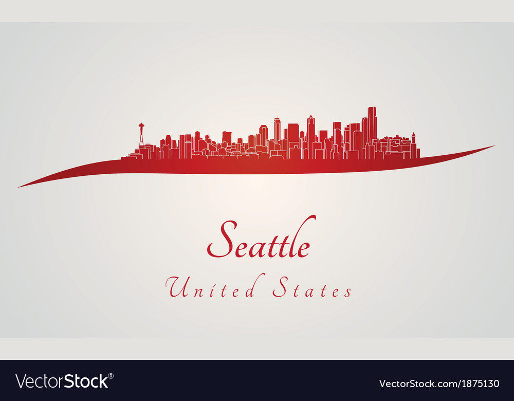 Seattle skyline in red vector image