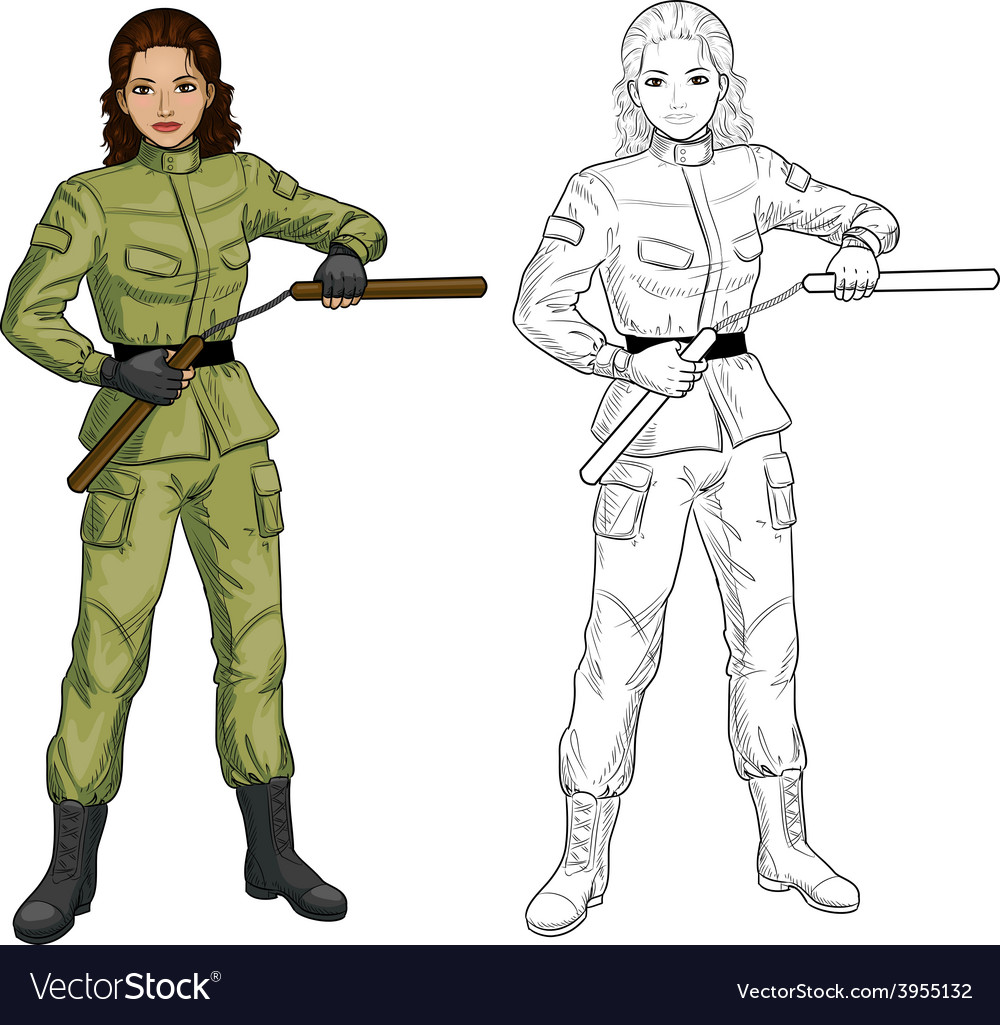 Indonesian Nunchuck girl in military uniform vector image
