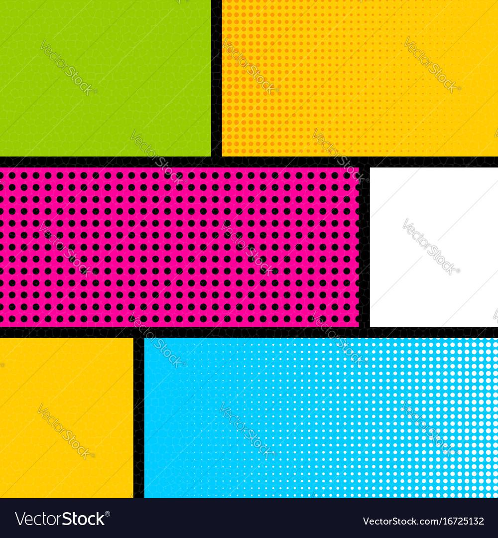 Pop art comic book strip background vector image