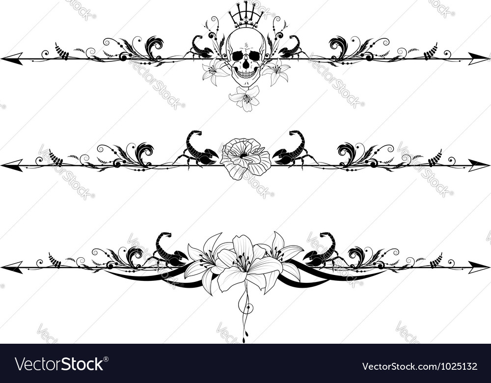 Set of gothic borders vector image
