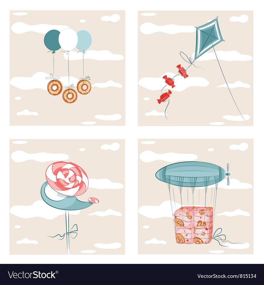 Sweets Flight Set vector image
