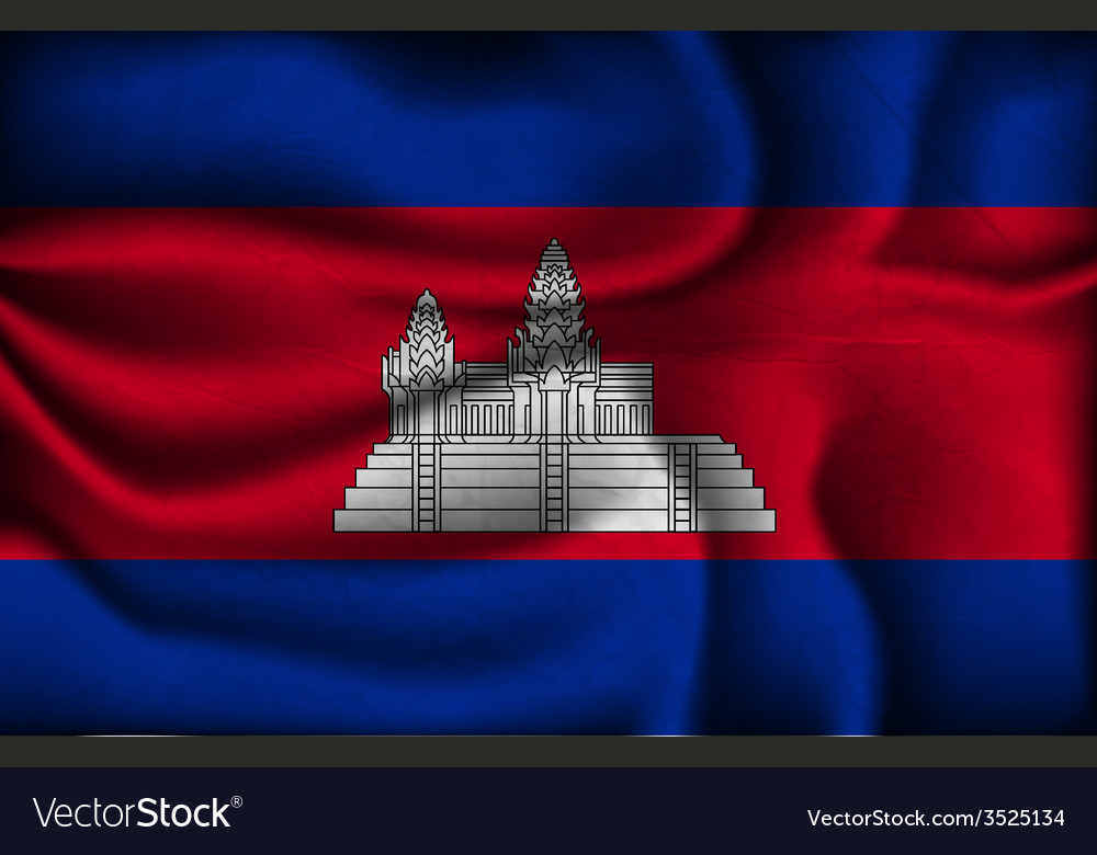 Crumpled flag of Cambodia on a light background vector image