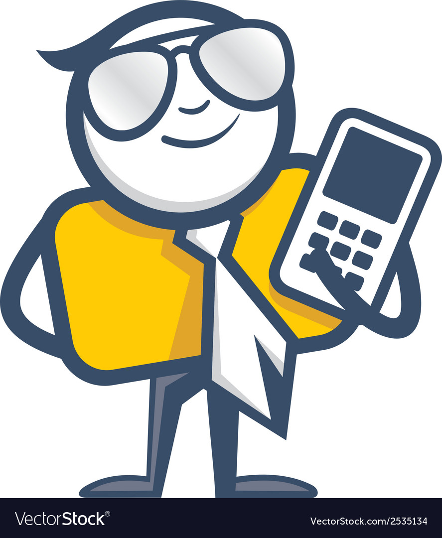 Man with mobile phone logo vector image
