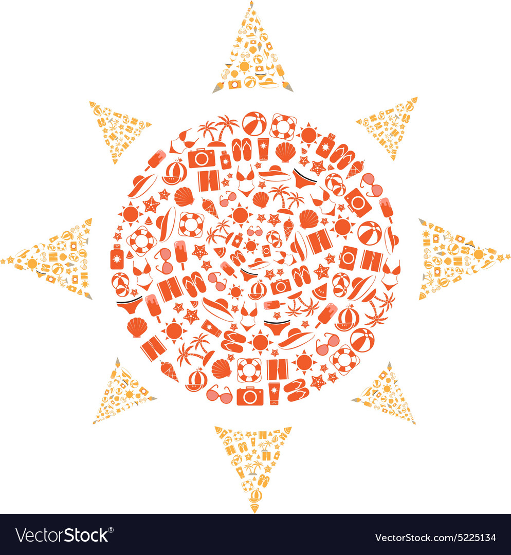 Summer Icons Set shape sun with White Background v vector image