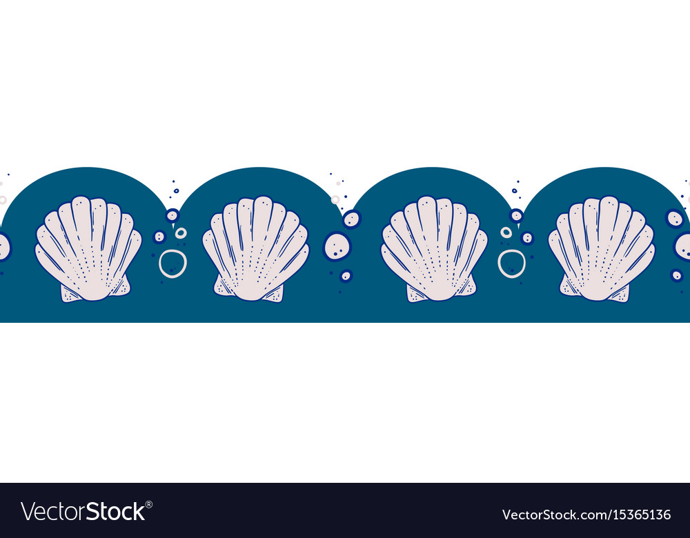 Seashell and bubbles seamless border vector image