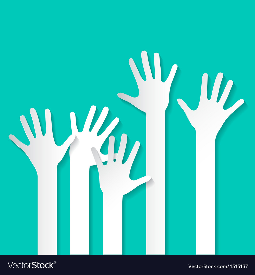 Voting Hand - Paper Cut Palm Hands Set on Re vector image