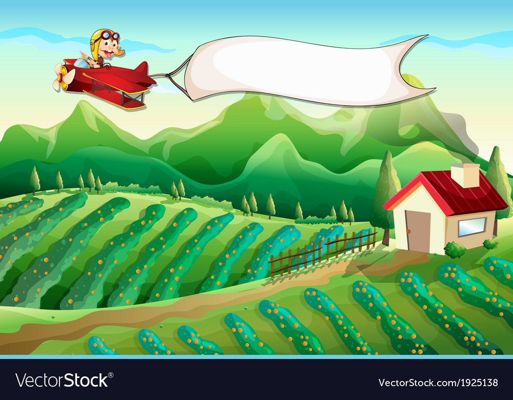 A pilot with an empty banner flying above the farm vector image
