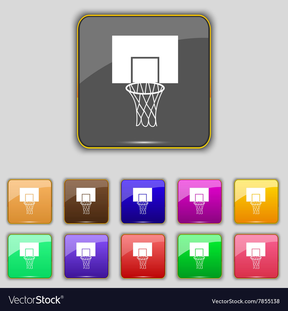 Basketball backboard icon sign Set with eleven vector image