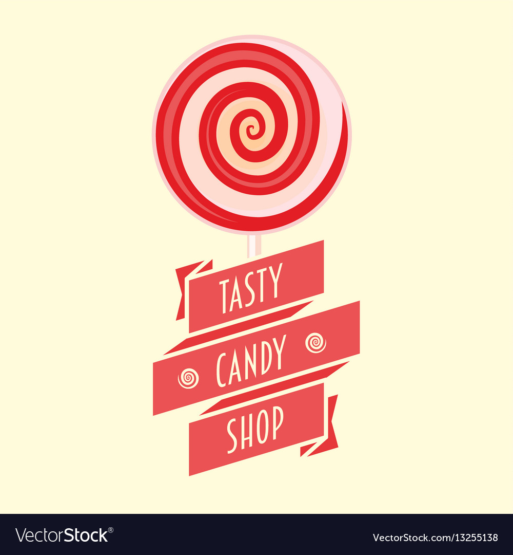 Candy or sweet shop logo sign icon or symbol vector image