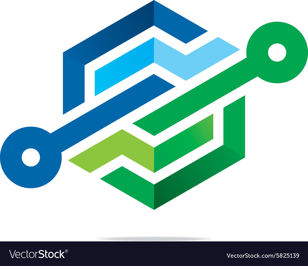 Abstract symbol hexa connecting icon element vector image