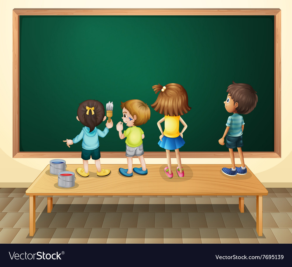 Children paintinging the blackboard in the room vector image