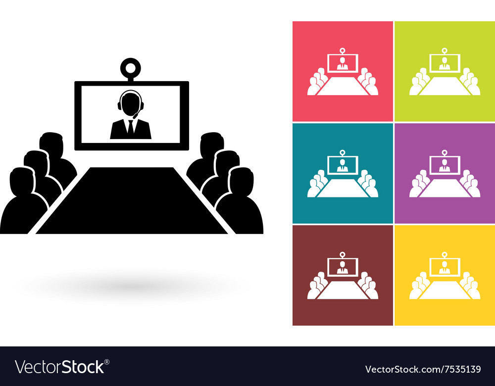 Conference Icon Or Video Conference Symbol Vector Image