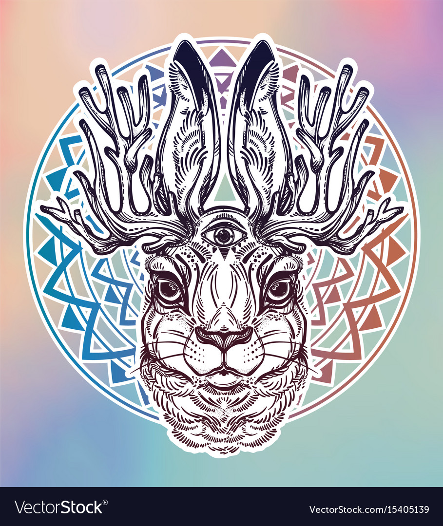 Jacalope three eyed magical creature portrait vector image