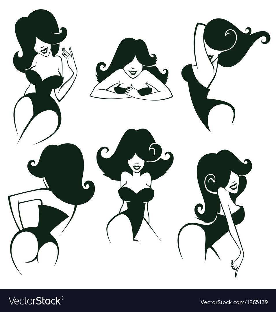 Pin up girls collection vector image
