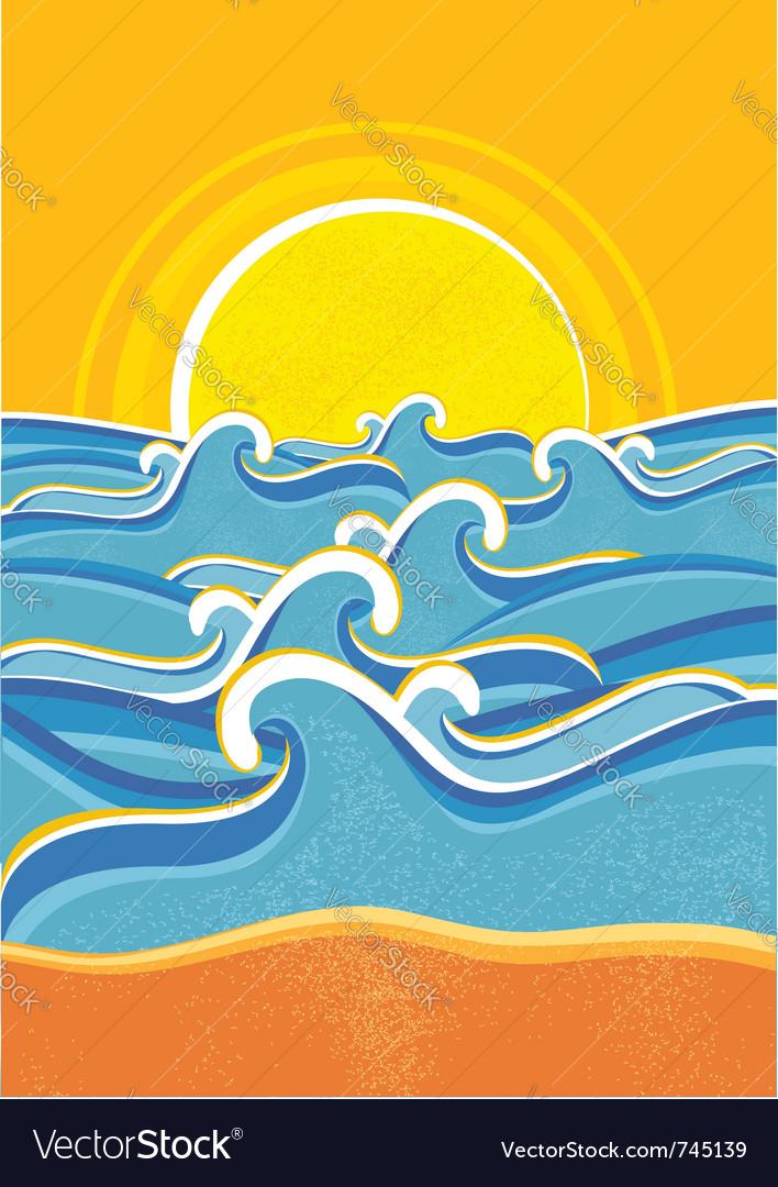Seascape vintage poster vector image