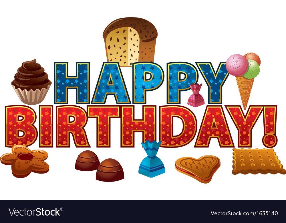 Happy birthday candy Royalty Free Vector Image
