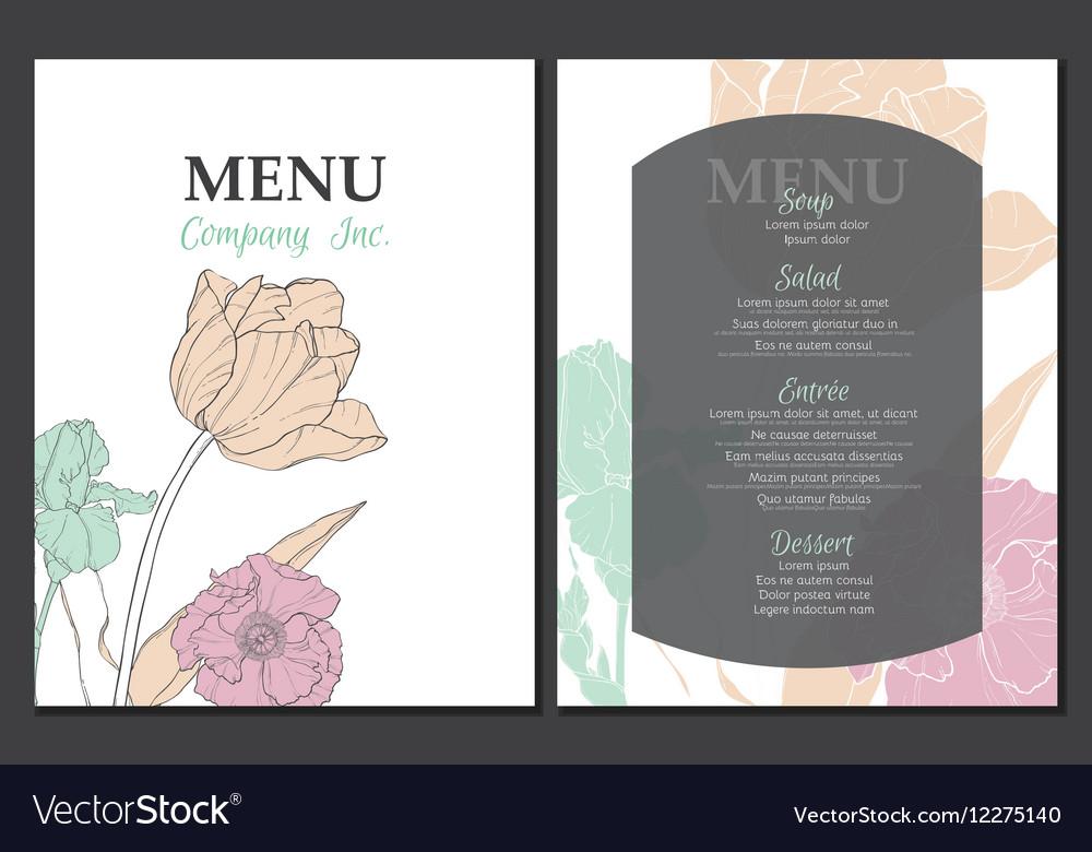 Menu template design with vintage floral vector image