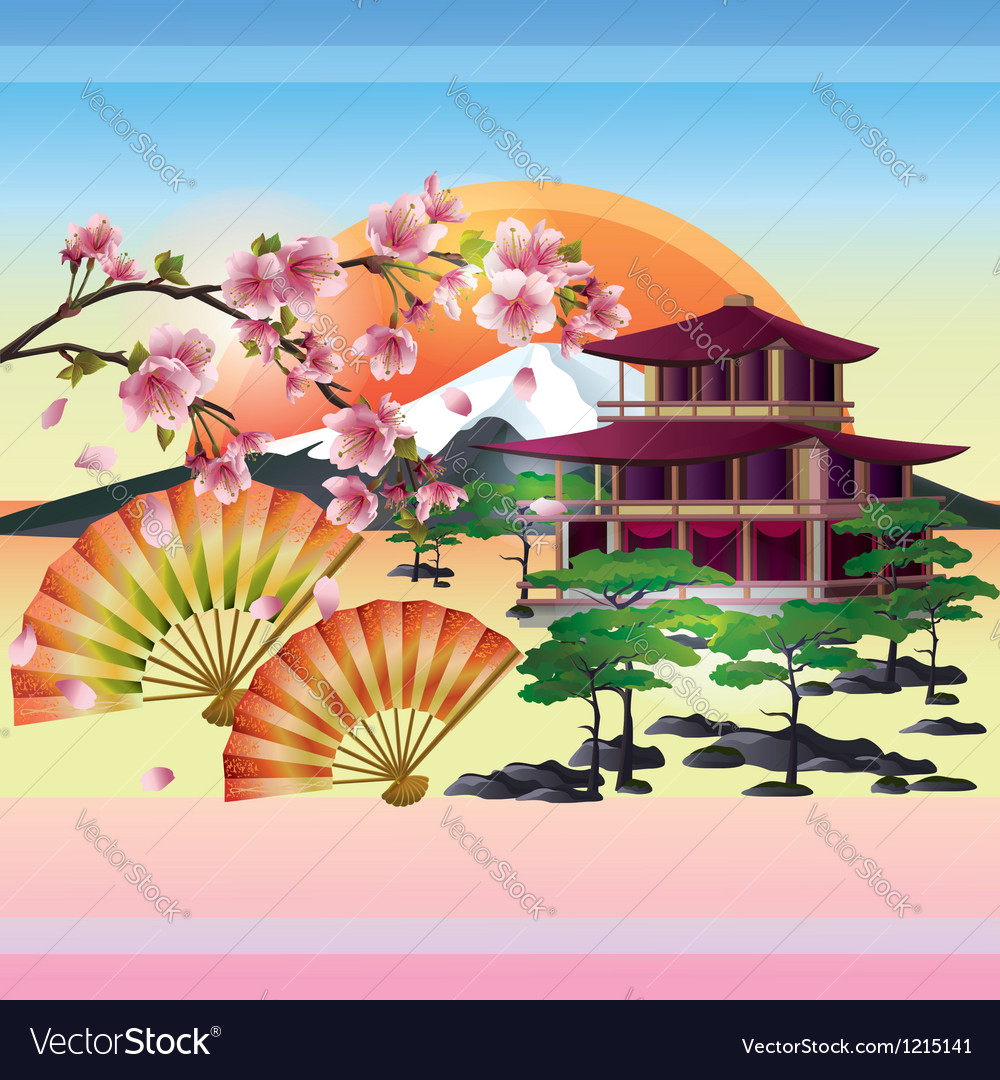 Japanese background with sakura Japanese cherry vector image