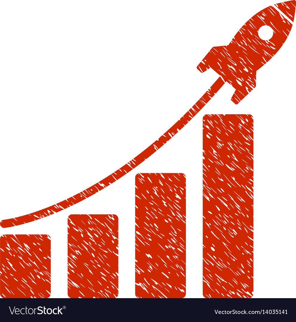 Startup rocket bar chart grunge icon vector image