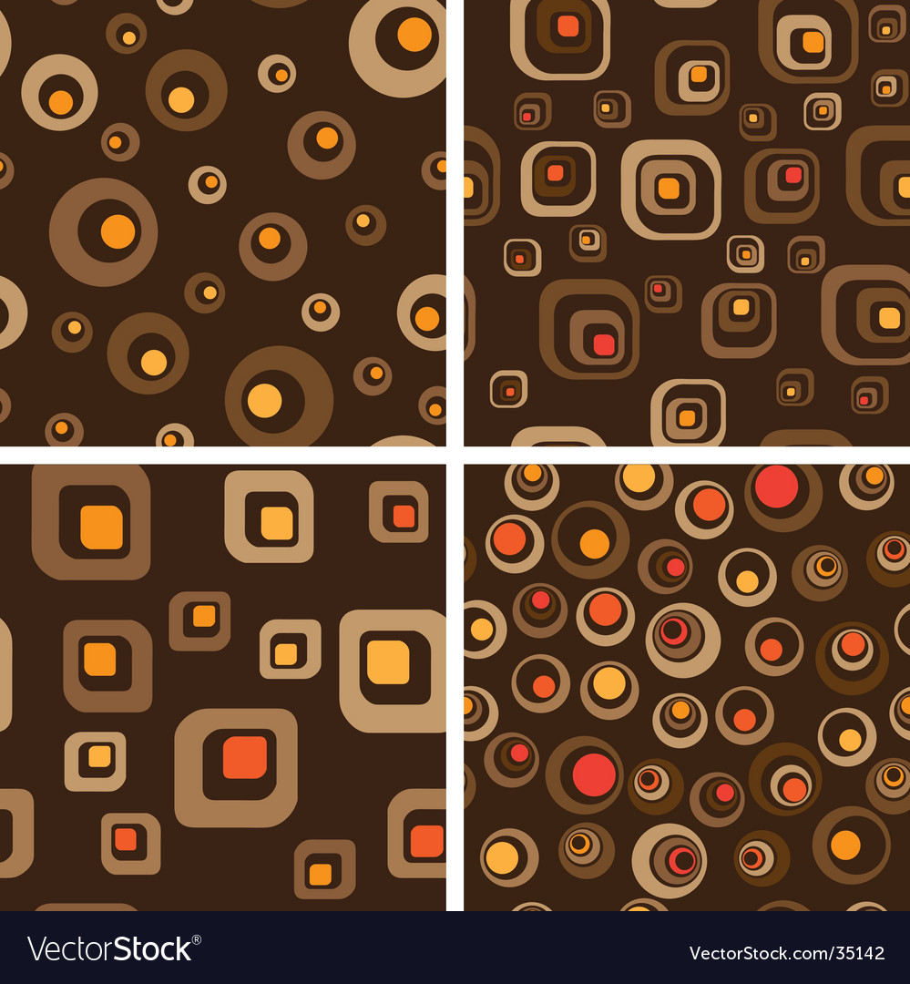 Retro seamless background set Vector Image