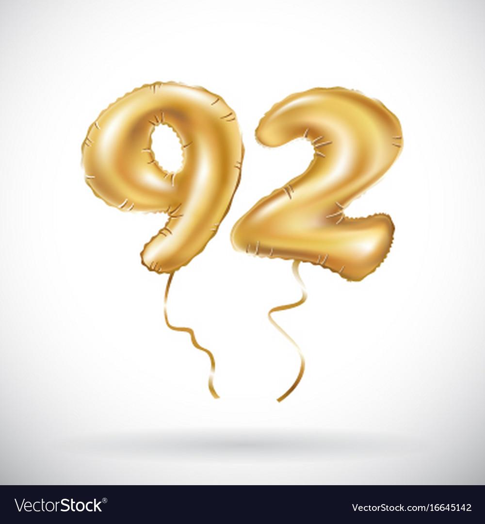 Golden number 92 ninety two metallic balloon vector image